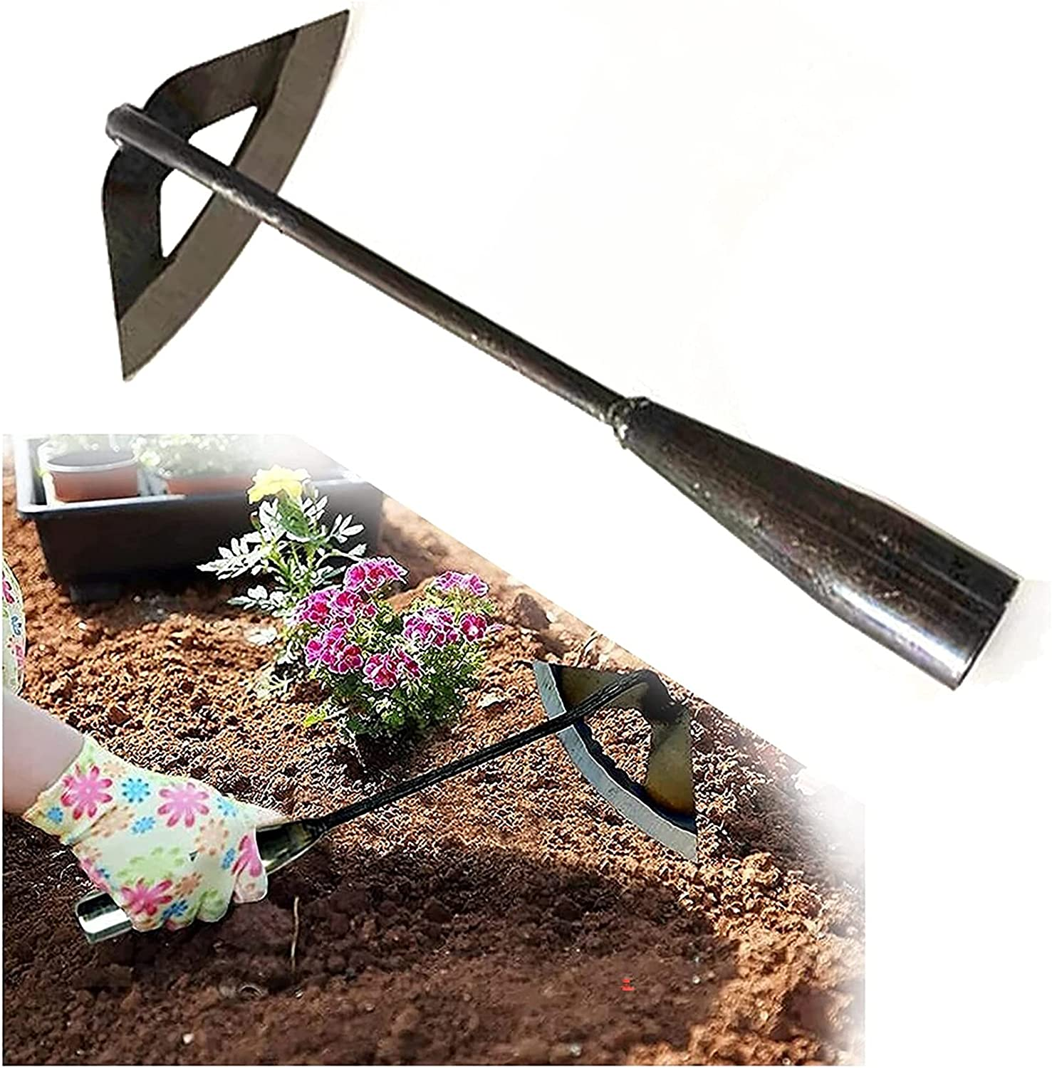 Nihexo All-Steel Hardened Hollow Hoe,Handheld Weeding Rake Planting Vegetables Farm,Sharp Durable Gardening Gifts for Hoe Garden Tool Traditional Steel Quenching Forging Process (1Pc)