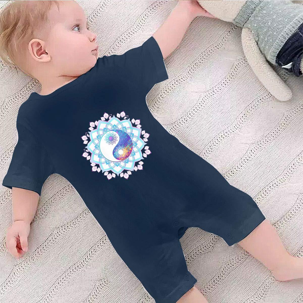 Baby Boys Girls Short Sleeve Jumpsuit Pastel Symbol of Yin Yang Cotton Romper
