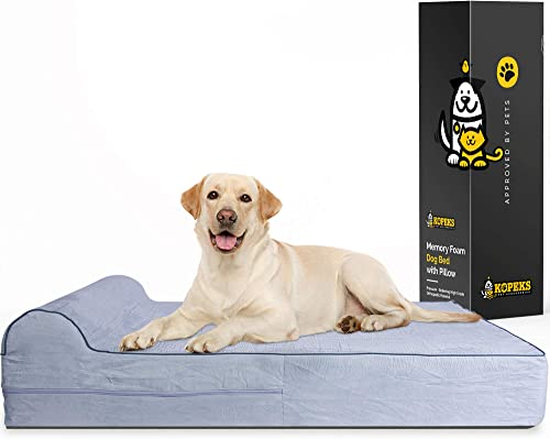 7-inch-Thick-High-Grade-Orthopedic-Memory-Foam-Dog-Bed-With-Pillow-and-Easy-to-Wash