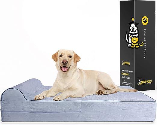 KOPEKS - Cama Extra Grande para Perros Mascotas con Memoria Viscoelástica Ortopédico 127 x 85 x 18 cm más la Almohada, Gris, XL: Amazon.es: Productos para mascotas