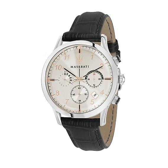 MASERATI Reloj Cronógrafo para Hombre de Cuarzo con Correa en Cuero R8871625006: Amazon.es: Relojes