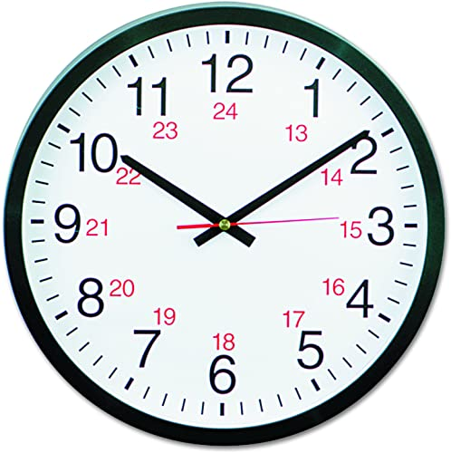 Universal 10441 – 24-Hour Round Wall Clock, 12.5in, Black