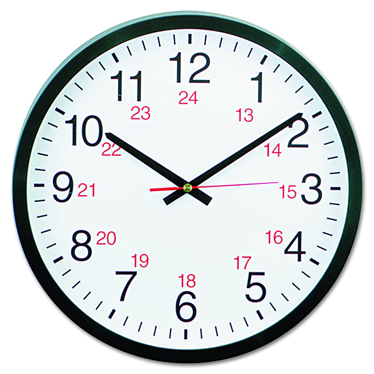 Universal 10441 - 24-Hour Round Wall Clock, 12.5in, Black