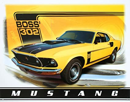 Ford Mustang Boss 302 >> Ford Mustang Boss 302 Car Retro Vintage Tin Sign