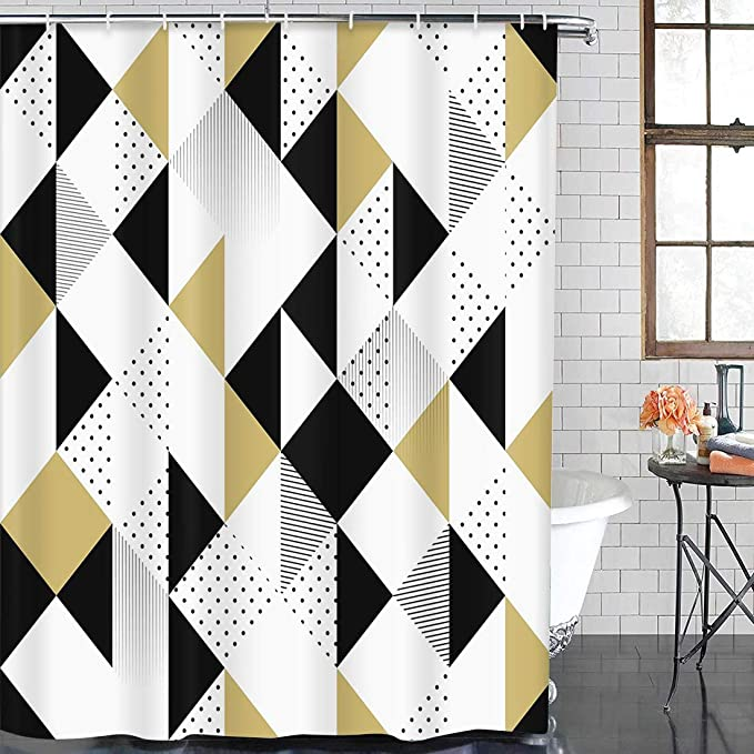 Details about  /Black Background Gold Feathers and Arrow Shower Curtain Set Waterproof Fabric