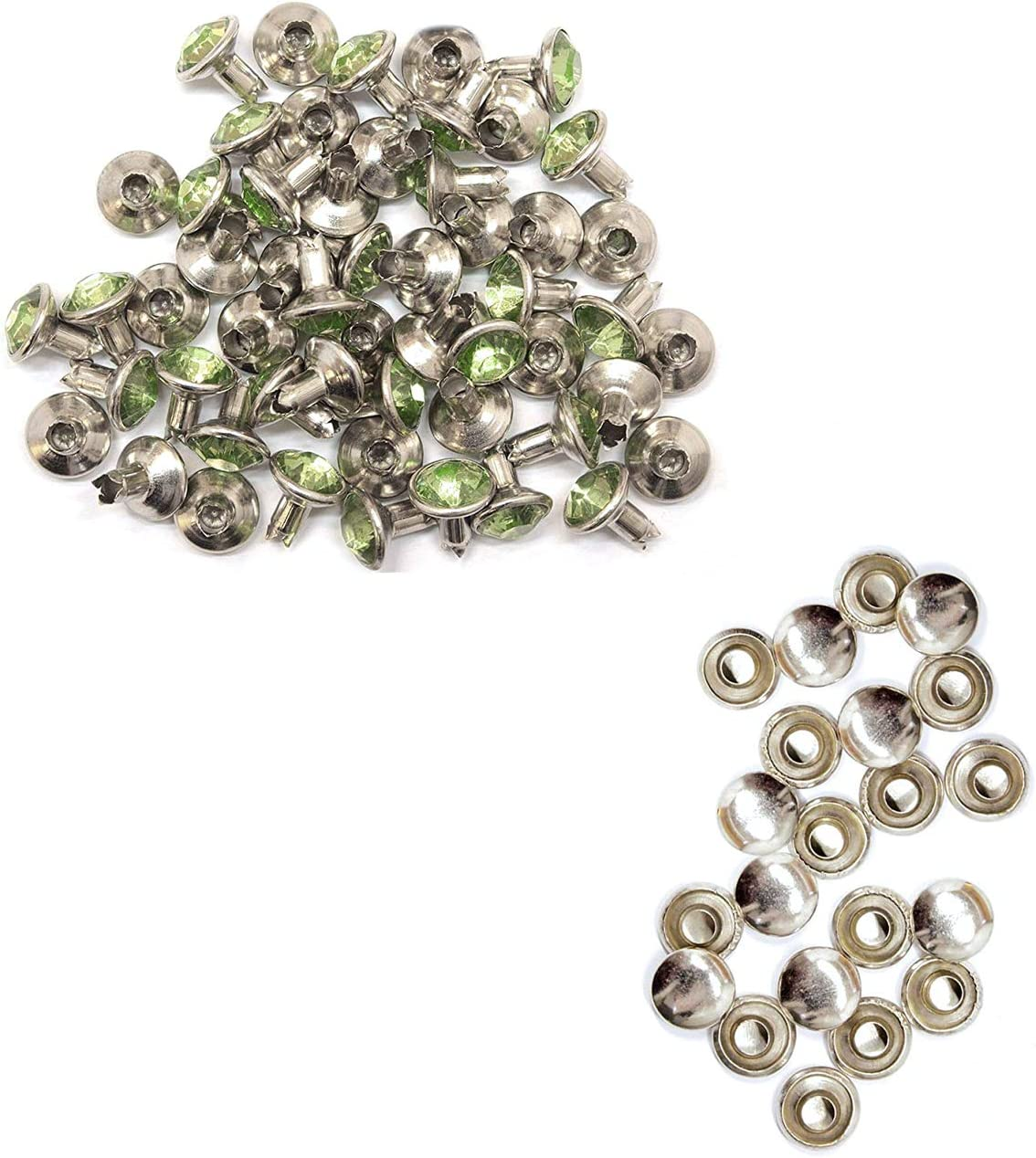 Perfect for Belts Trimming Shop 8mm Diamante Rivet Studs for Leather Crafts with Apple Green Coloured Acrylic Rhinestones Pack of 50 Bags or Dog Collars