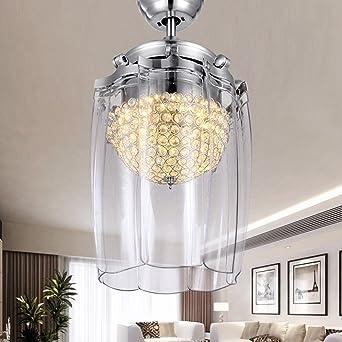 Liuyu · Led Crystal Unsichtbare Schlafzimmer Deckenventilator Licht Moderne  Minimalistische Wohnzimmer Fan Lichter Restaurant Fernbedienung Ultra