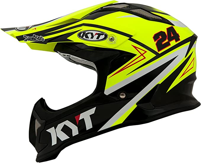Amazon.es: KYT casco Moto Cross off-road Strike Eagle, Simpson Replica Yellow, talla 2 X L 63 cm