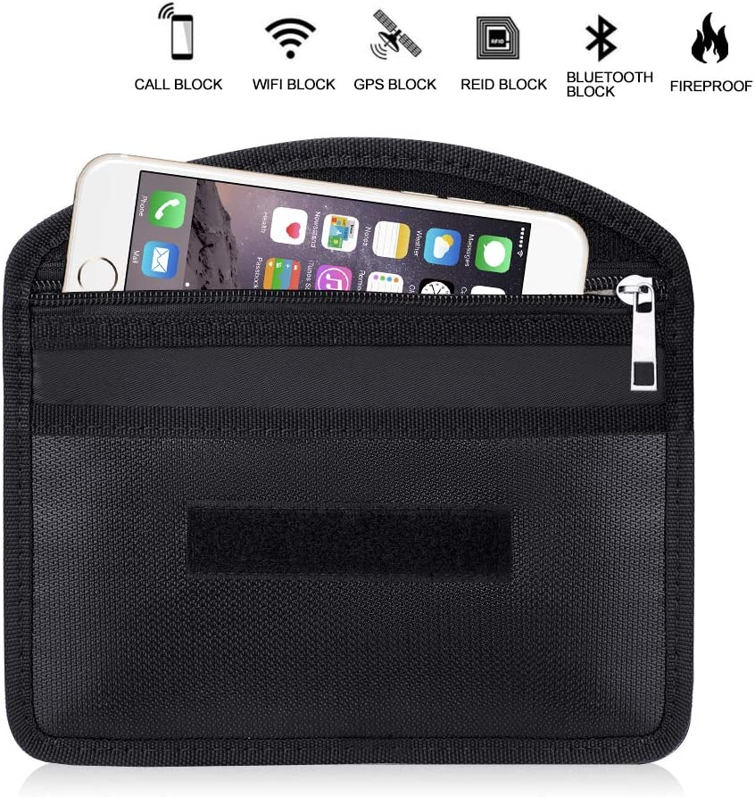Fireproof Faraday Bag with Zipper Anti-Tracking GPS RFID Car Key Signal Blocker Wallet Shielding Pouch Protective Case for Cell Phone Privacy and Car Key FOB
