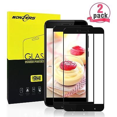 2-Unidad Protector de Cristal Templado para Xiaomi Redmi 4X,Borde Negro Protector de Pantalla Vidrio Templado,Alta Definicion,9H Dureza,Sin Burbujas,Sin Borde Blanco(Negro)