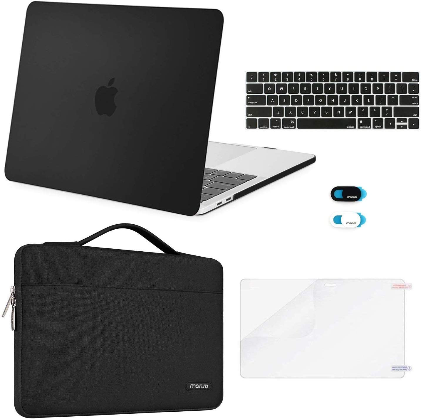 MOSISO MacBook Pro 15 inch Case 2019 2018 2017 2016 Release A1990 A1707, Plastic Hard Shell Case&Sleeve Bag&Keyboard Cover&Webcam Cover&Screen Protector Compatible with MacBook Pro 15 inch, Black