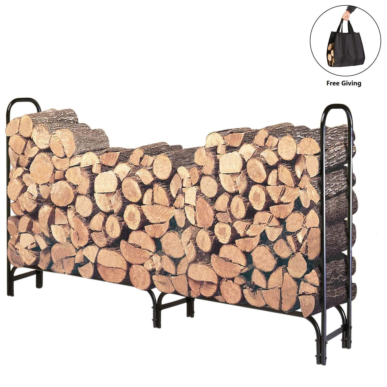 DOEWORKS 8 Feet Large Heavy Duty Outdoor Firewood Racks Steel Wood Indoor Storage Log Rack Holder