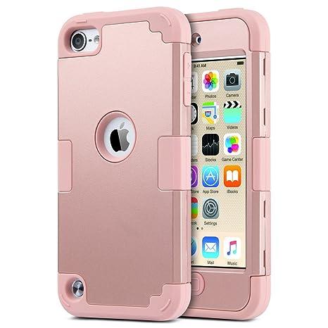 ULAK iPod 5 6 Carcasa, iPod Touch 5 6 Funda Case hñbrida de 3 Capas de Silicona Antigolpes con Tapa para Apple iPod Touch 5 5th generación (FK-Rosa ...