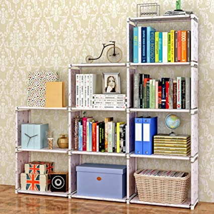 JXBOOS Iron Frame Plastic BookshelfAssembly Removable Simple Assembly Multi Purpose Bookcase Free Combination