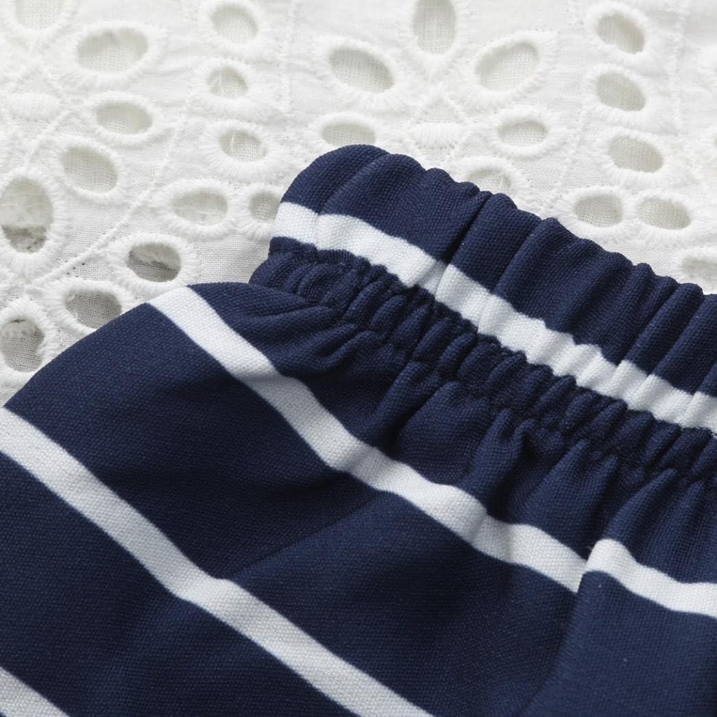 Fossen Ropa Bebe Ni/ña Verano Tops de Ropa de Encaje y Rayas Pantalones Cortos Conjunto 2PC