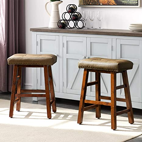 Amazing Ok Furniture 24 Inch Counter Height Bar Stool Set Kitchen Dining Wood Saddle Barstool Set Of 2 Caraccident5 Cool Chair Designs And Ideas Caraccident5Info
