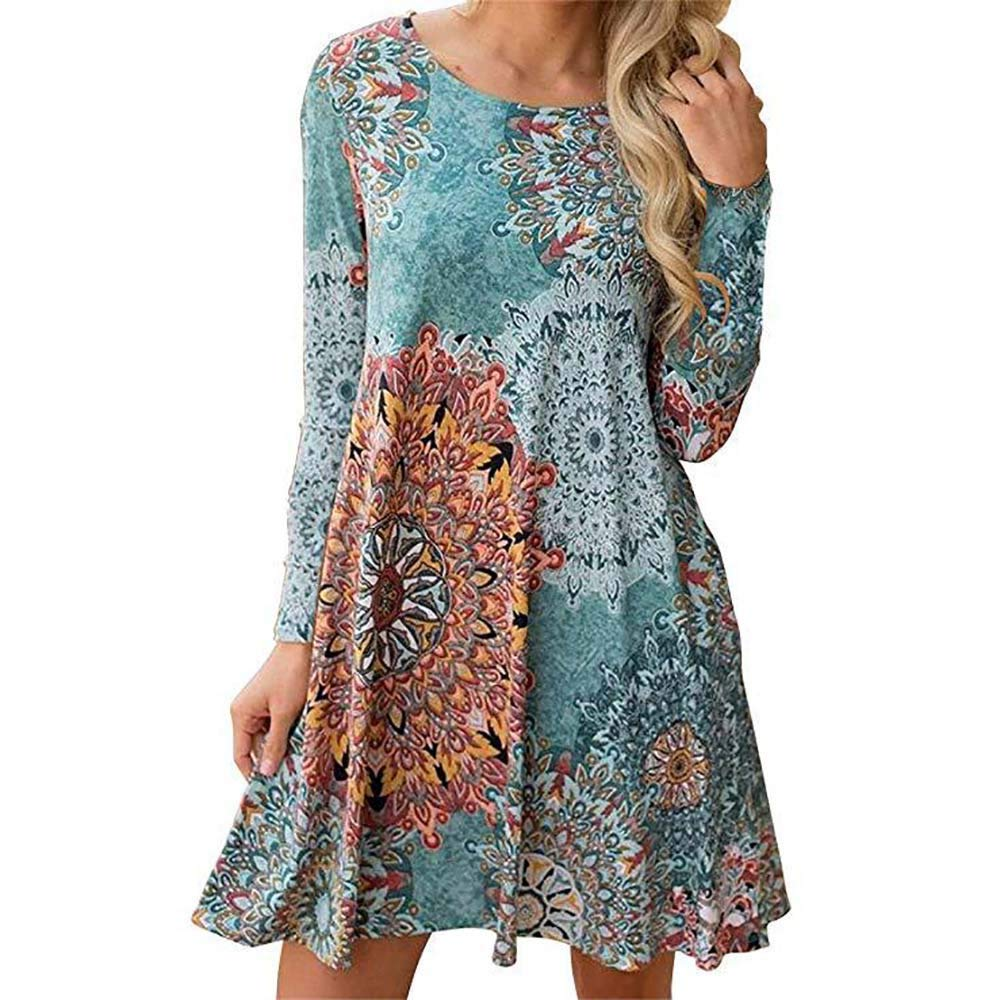 AMSKY❤ Women's Flower Print Mini Dress Casual Blouse for Leggings Casual Long Sleeve Swing Tunic Shirt Dress 183