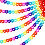 Outus 6 Pieces 60 Feet Colorful Rainbow Heart Banner Colorful Party Paper Garland Heart Shape Hanging Decorations for Birthda