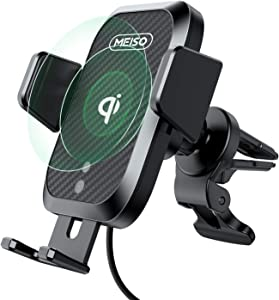 MEISO Car Mount Wireless Charger, Auto Sense Phone Holder, 10W Qi Auto Clamping Air Vent Phone Holder Mount Compatible with iPhone 12, 11, X, XR, 8, Samsung S20,Note20, Note10, S10, Note9, S9, More