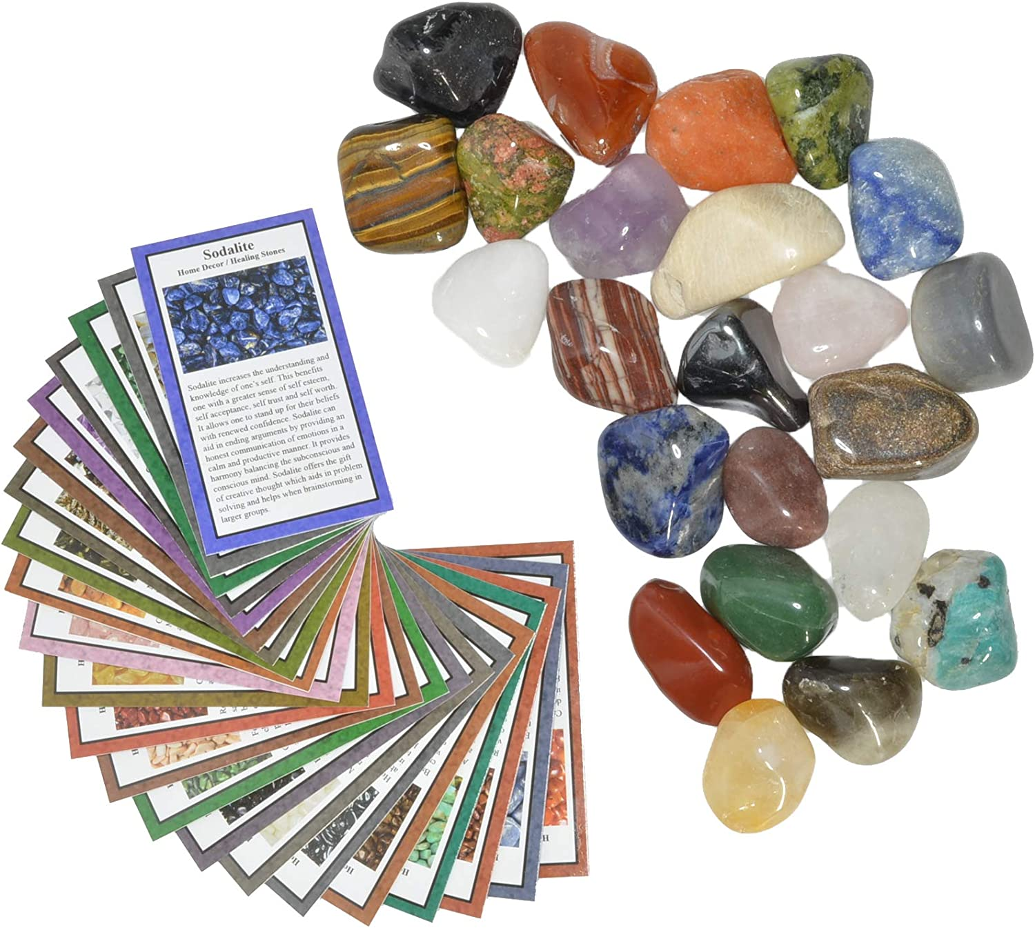 Fantasia Materials: 2 lbs Large Tumbled Polished Natural Gem Stones with Educational Rock Information and Identification Cards - avg 1.25
