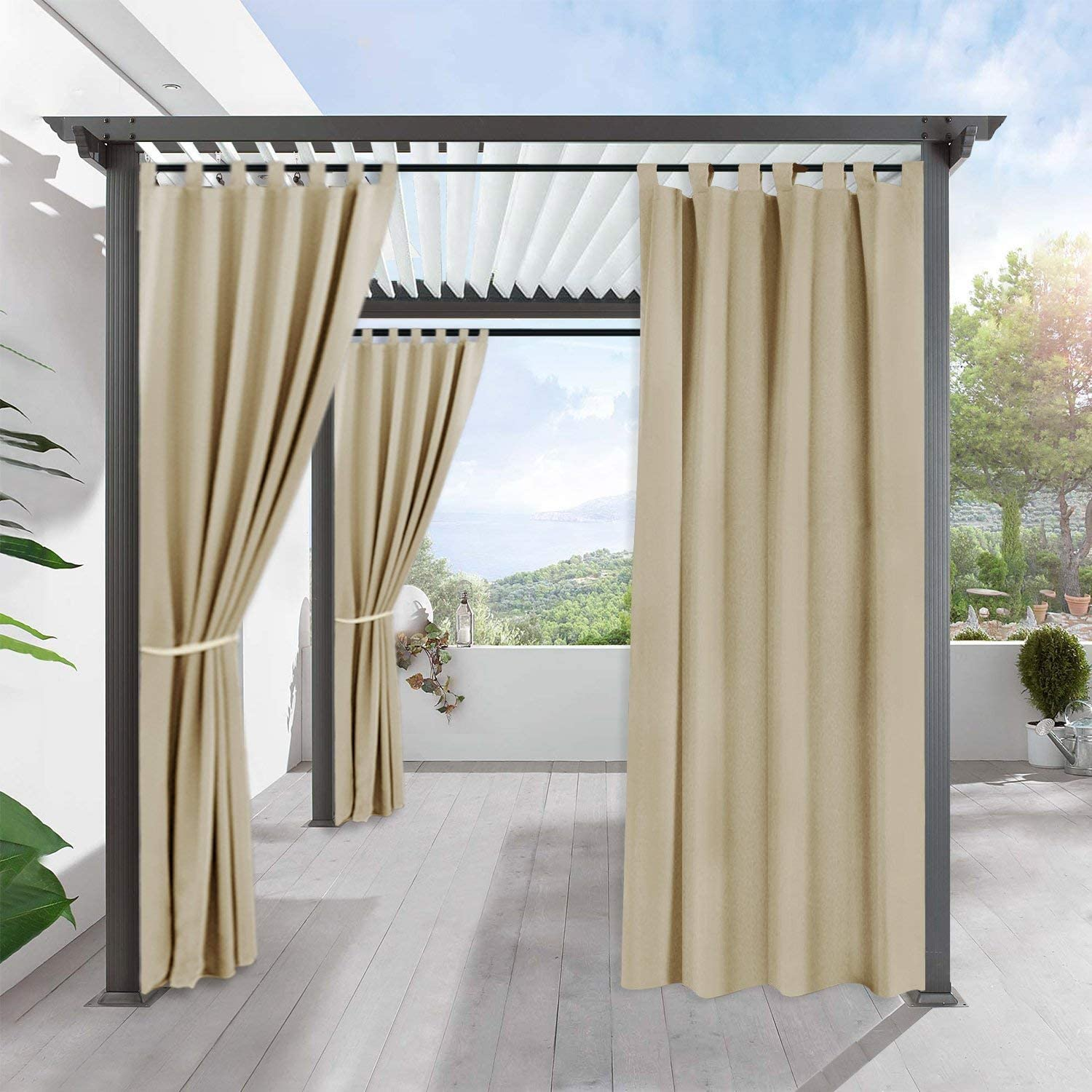 RYB HOME Outdoor Curtains for Patio - Waterproof & Sunlight Block Out Insulated Drapery Privacy for Front Porch Garden Backyard Sliding Glass Door, 1 Panel, 52 Wide x 95 Inches Long, Cream Beige