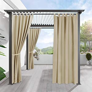 RYB HOME Outdoor Curtain for Patio - Insulated Blackout Curtain Tab Top Privacy Drape Balance Summer Heat & Winter Cold for Pergola Lawn Corridor Pavillion, 1 Piece, 52 x 108 inch, Cream Beige