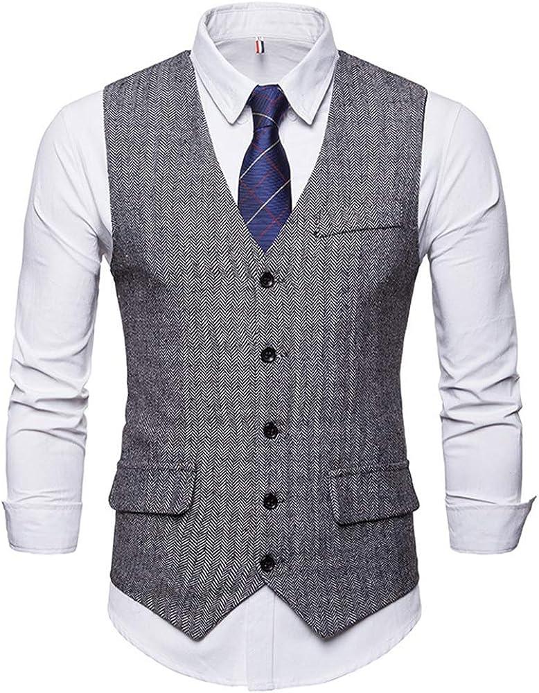 Biutimarden Men Wedding Slim Fit V Neck Single and Double Breasted Business Casual Waistcoat Suit Vest Formal Edition Suit Vest