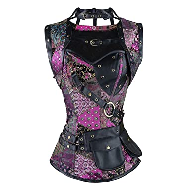 99604913b9f6e Miracle Women Steampunk Pirate Corset Vest Plus Size Overbust Bustier Top  Halloween Costumes