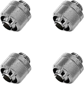 "Barrow G1/4"" to 3/8"" ID, 5/8"" OD Compression Fitting for Soft Tubing, Silver Shiny, 4-Pack"