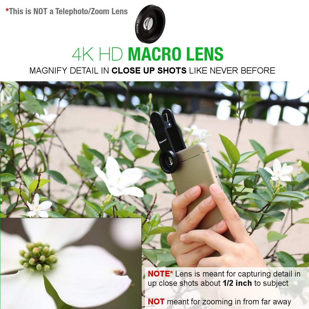 KobraTech 4K iPhone Camera Lens Kit - HD Wide Angle Phone Lens & Macro Cell Phone Lens iPhone & Android - Includes Remote Shutter by KobraTech (Image #3)