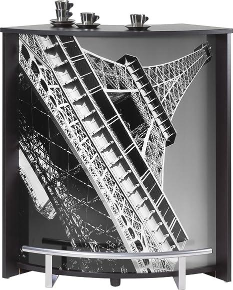 SIMMOB visio096no751 Tour Eiffel 750 751 Mueble Comptoir Bar Madera Negro 44,9 x 96