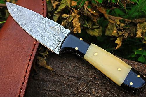 Sale 5 9 18 DKC-520 Teton Damascus Steel Hunting Handmade Knife Fixed Blade 5.7 oz 7.75 Long
