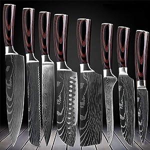 D&G 8 Piece Kitchen Chef 8 inch Kitchen Knife Set Japanese Stainless Steel Damascus Laser Pattern, 8 inch 8 pc Chef Knife Set