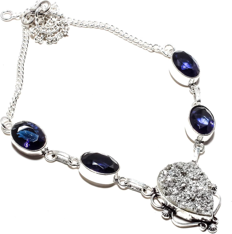 jewels paradise Collar de Plata de Ley 925 bañado en Plata de Ley 925 con Piedra de Zafiro Azul y rubí (SF-1323)