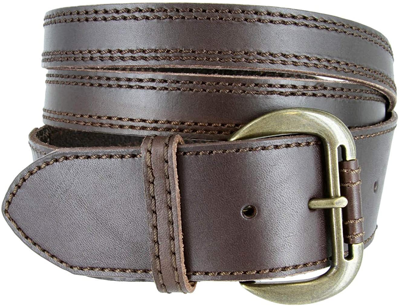 Vintage Fashion Solid Leather Crossing X Jean Belt 1-7//8 Wide Brown Color