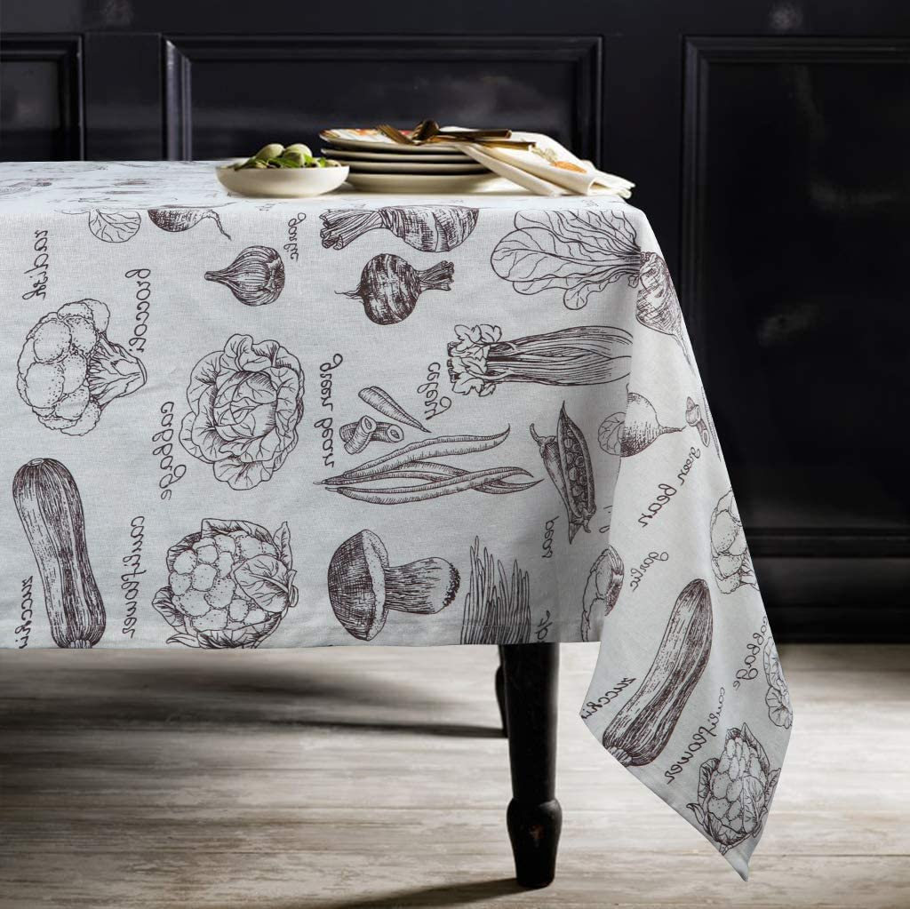 ColorBird Fresh Vegetables Print Cotton Linen Tablecloth Rustic Garden Natural Harvest Decorative Table Cover for Kitchen Dining Spring Summer Picnic Use, Rectangle/Oblong, 55 x 102 Inch