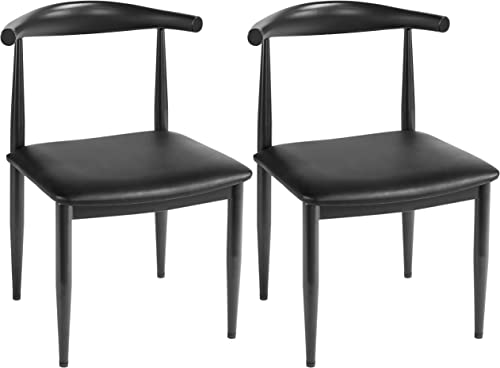 Yaheetech 2pcs Metal Dining Chair Mid Century Indoor Use Chic Metal Legs Armle
