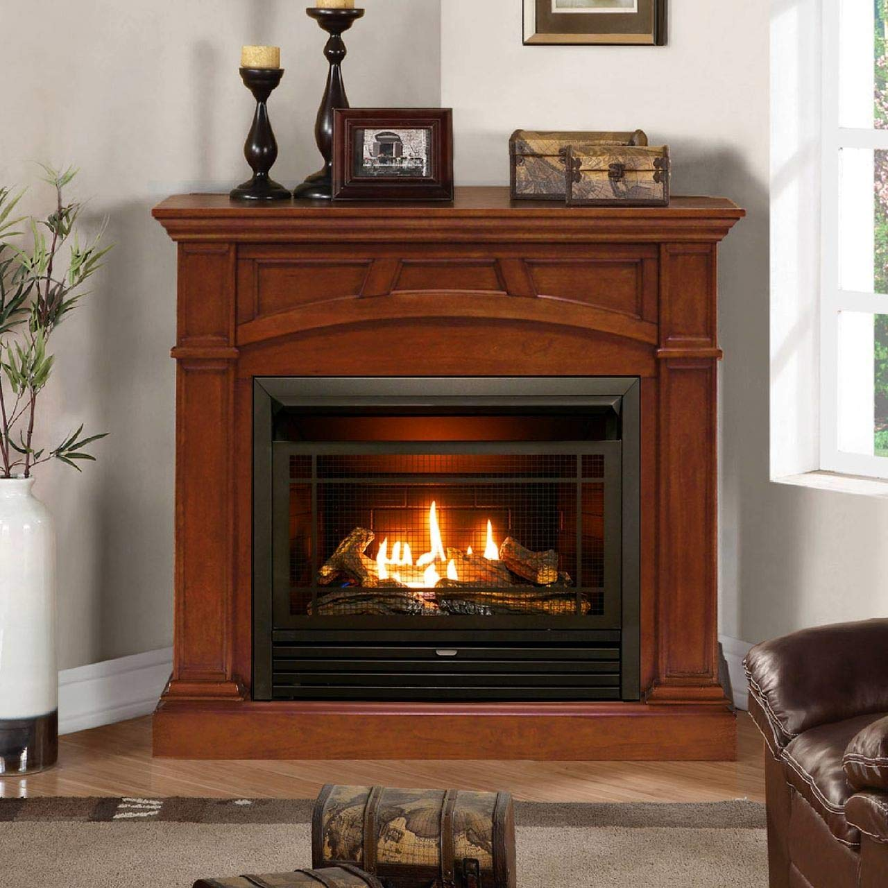 Duluth Forge Dual Fuel Ventless Gas Fireplace - 26,000 BTU, Remote Control, Heritage Cherry Finish by Duluth Forge