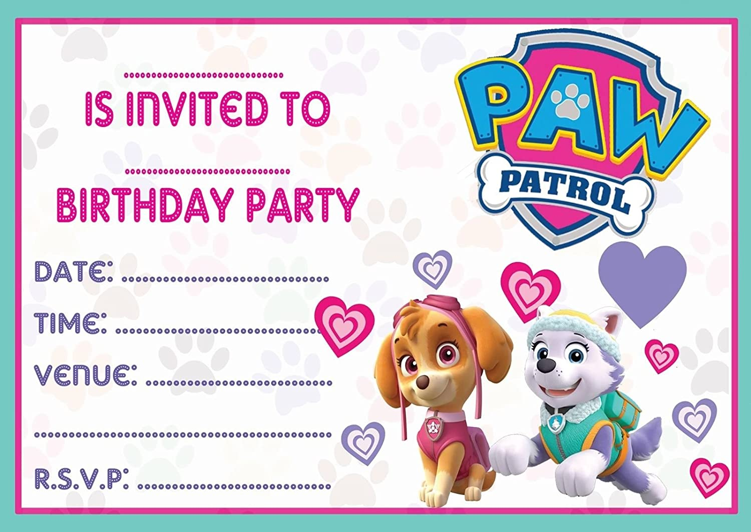 Best Selling Personalised Paw Patrol Birthday Party Invitations with Envelopes!