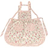 niceEshop Stylish Rose Flower Pattern Women Chefs Cooking Cook Apron Bib with Pockets,Pink