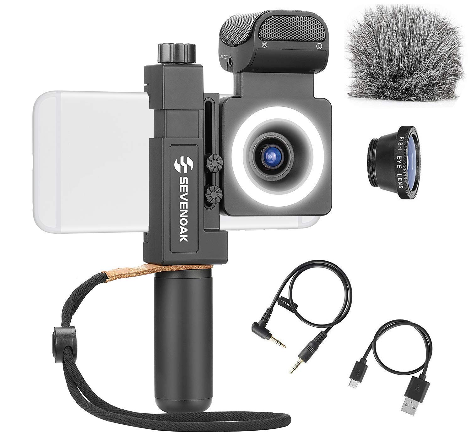 Sevenoak SmartCine by Movo - Complete Universal Smartphone Video Kit with Phone Rig, Built-in Stereo Microphone and LED Light, Wide-Angle and Fisheye Lenses - Compatible with iPhone and Android Phones by Movo