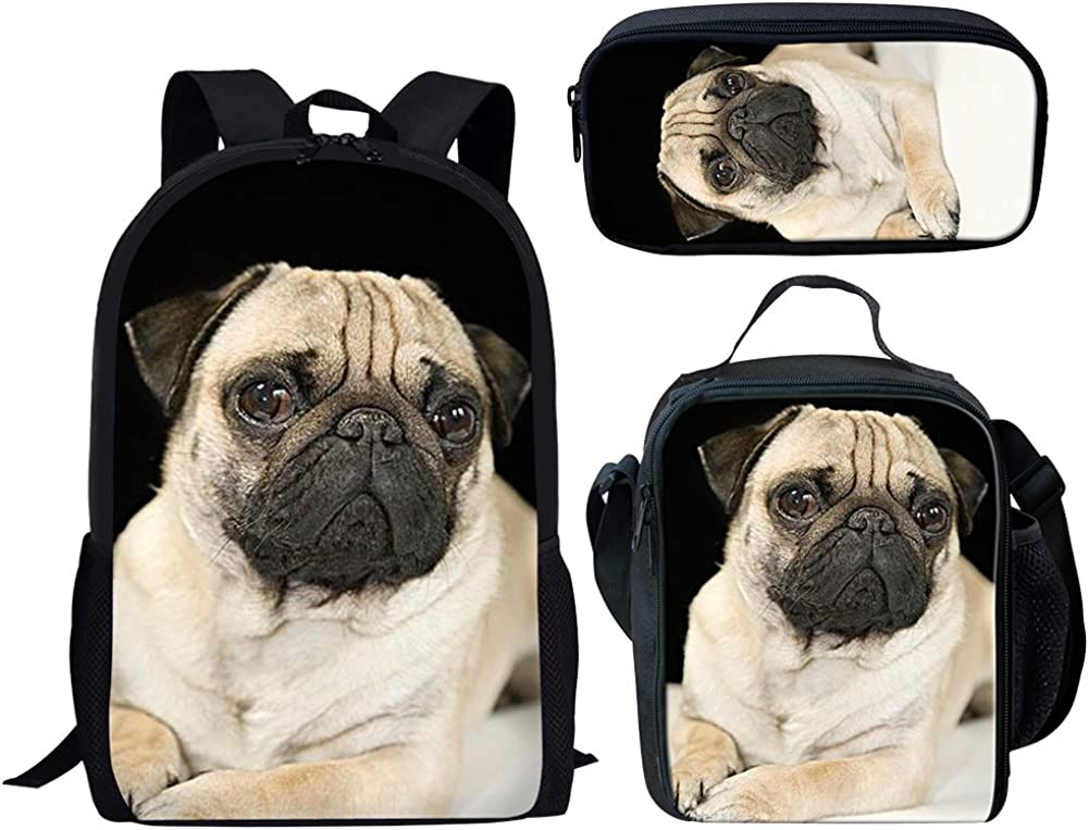 Funny Pug Dog 3 Pieces Backpack With Lunch Bag and Pencil Case Large School