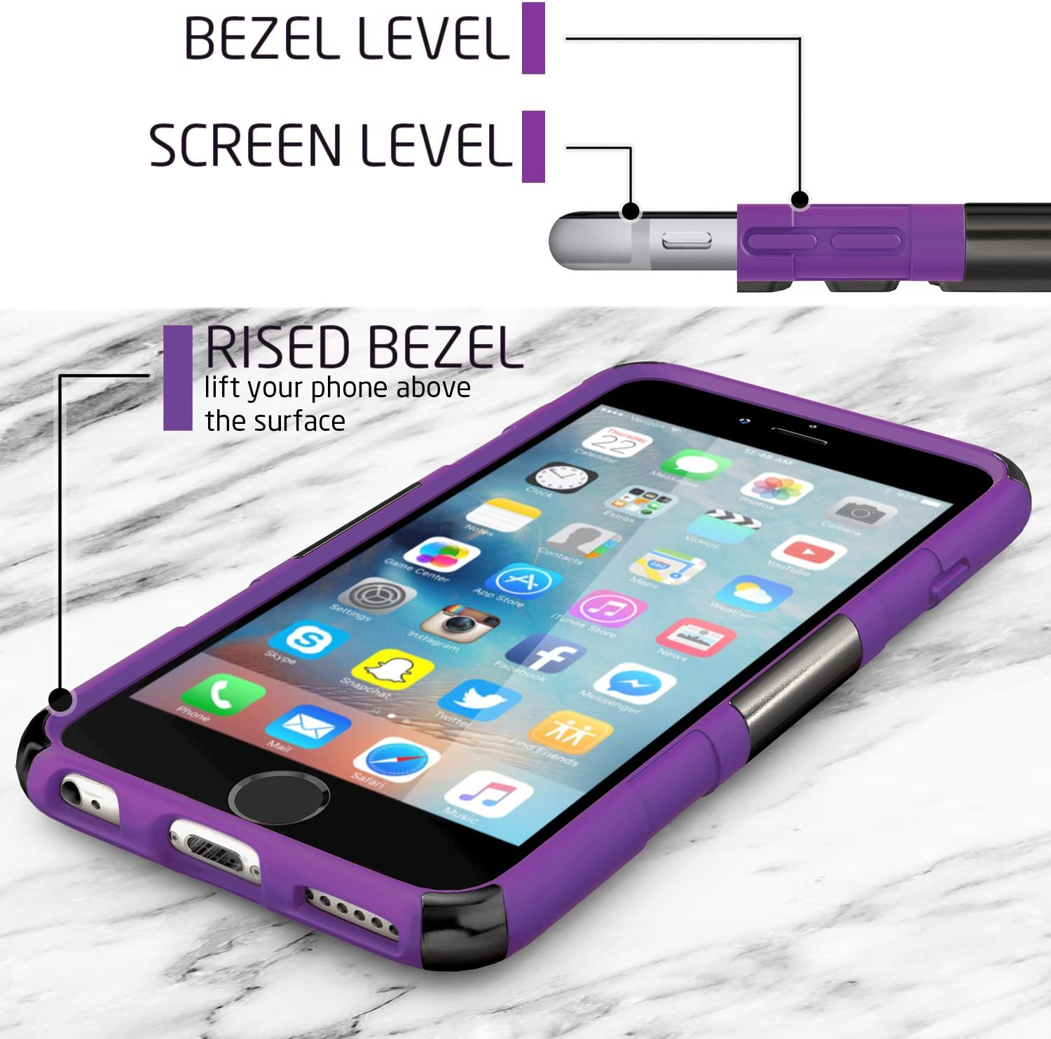 BUDDIBOX iPhone 6s Case, Purple HSeries Heavy Duty Swivel Belt Clip Holster with Kickstand Maximal Protection Case for Apple iPhone 6 and 6s,