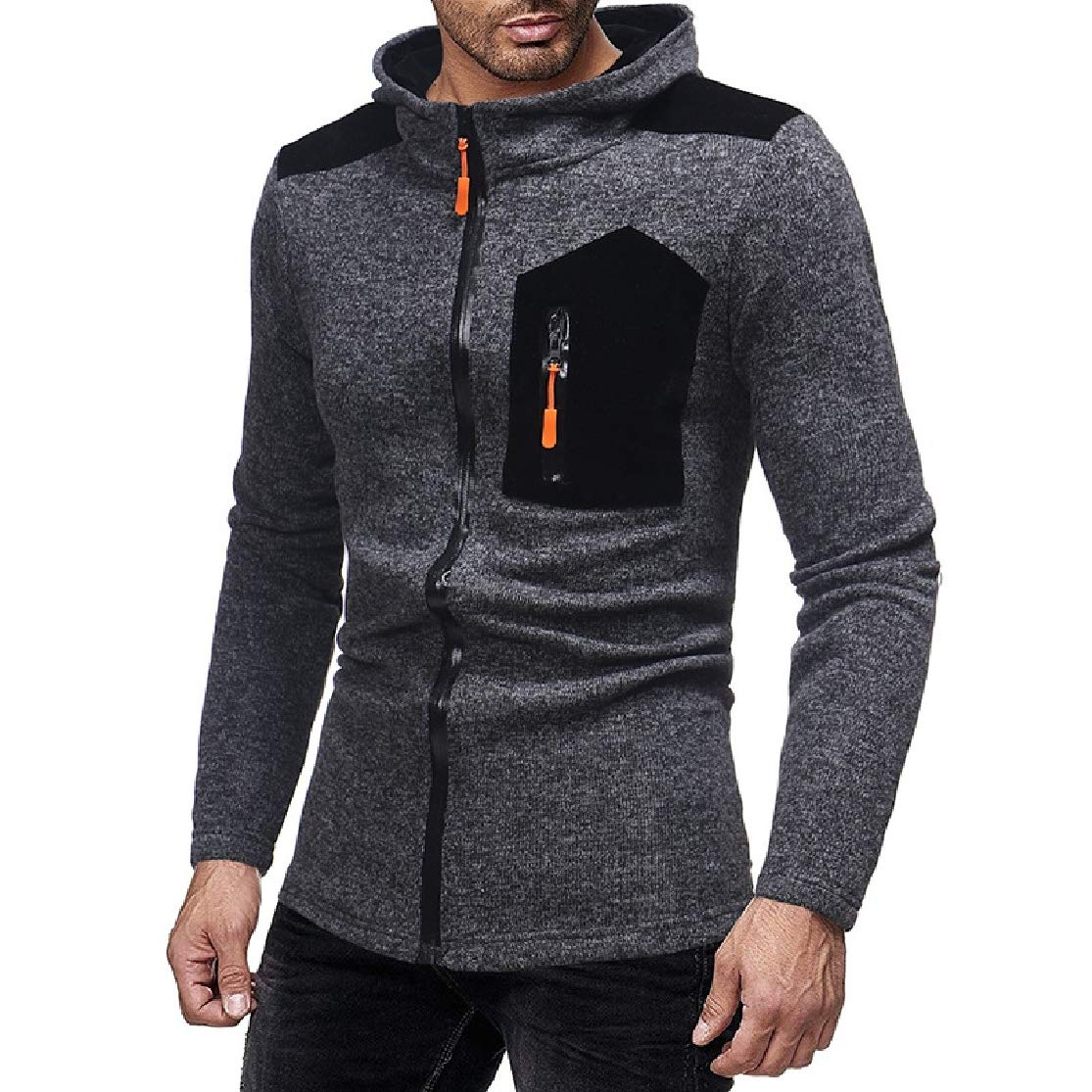 Colourful Mens Open Front Casual Hooded Jackets Long Sleeve Patched Full-Zip Sweatshirts
