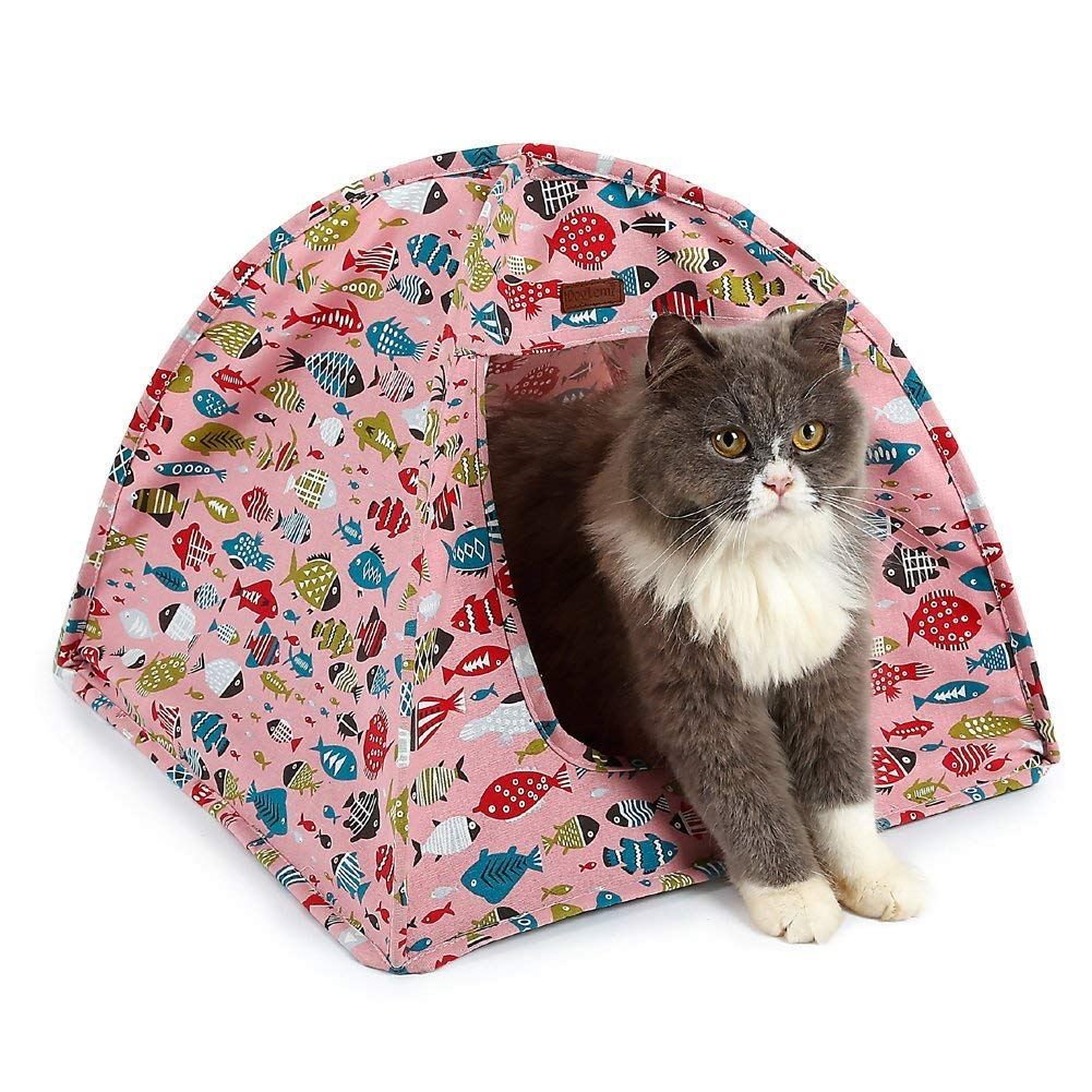 Cat Pet Tent House (Cushion Included) Foldable Bed Durable Cute Fish Design Cave
