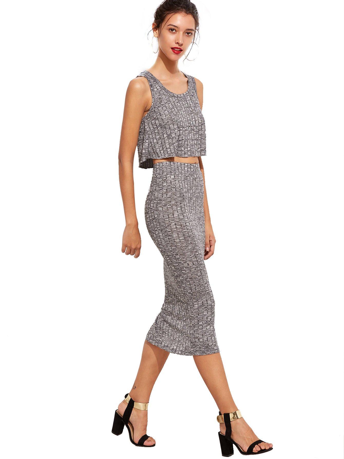 Romwe Women's 2 Piece Crop Tank Top with Skirt Set Sleeveless Bodycon Mini Dress 1-Gray Medium by Romwe (Image #3)