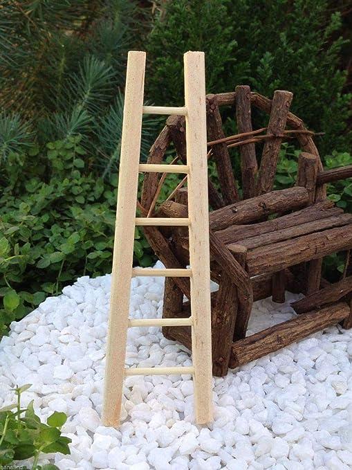 Escalera de madera en miniatura para casa de muñecas de hadas, accesorios de jardín, 4,75 pulgadas: Amazon.es: Juguetes y juegos