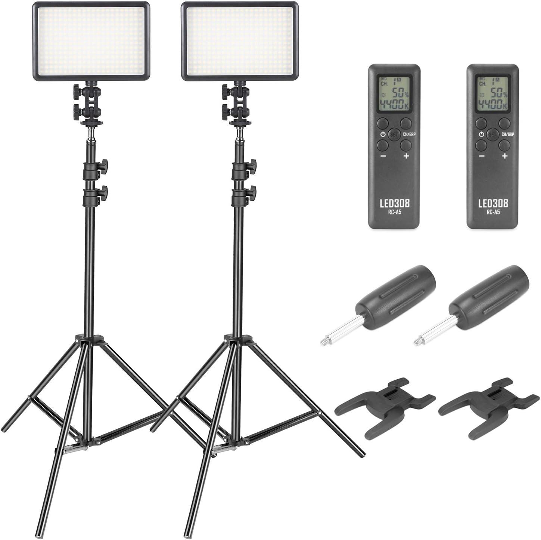 Neewer Kit de308C LED Luz de Vídeo y Soporte- 380 Piezas Regulable Panel LED con Control Remoto Inalámbrico y 200-centímetro Soporte Ajustable para Canon Nikon Pentax Cámara Videocámara(2-Pack): Amazon.es: Electrónica