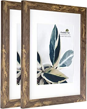 Scholartree Wooden Picture Frame Wooden Photo Frame for Wall or Tabletop with Mat White Crack Wood Grain,11x14 inches 2P