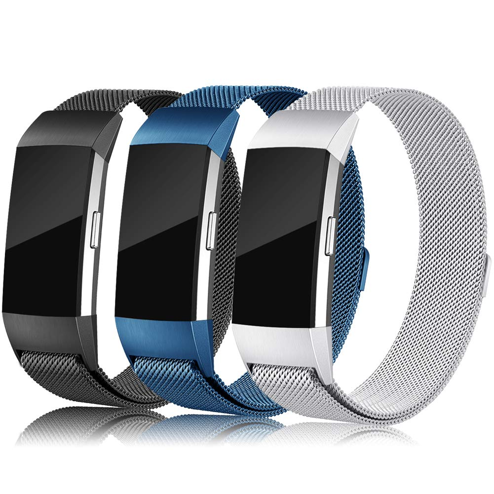 Find-MyWay Compatible with Fitbit Charge 2 Band,Charge 2 Accessories Stainless Steel Magnet Bracelet Women Men Wristbands Strap Rose Gold Silver Compatible for Charge 2 Fitness Tracker